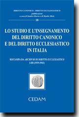 Lo studio e l'insegnamento del diritto canonico e del diritto ecclesiastico in Italia